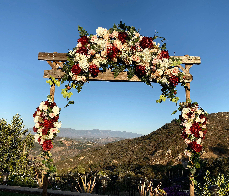 Lux Wedding Arch Flower Package, Burgundy Wedding Arch