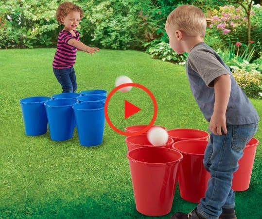 Little ones are sure to have fun playing this toss game featuring blue and red cups. Large cups are perfect for your child to throw a ball into, sharpening their aiming skills as they try and land them into their colored cup. This set is great for outdoor fun and parties. #craftsforkids
