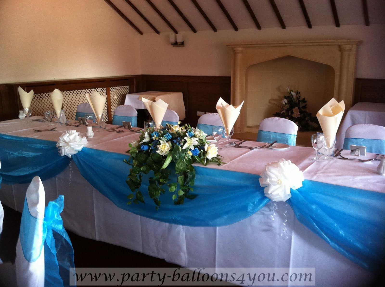Wedding Table Turquoise Wedding Table Decorations decorating pews for weddings we decorated the top table with a turquoise organza swags with