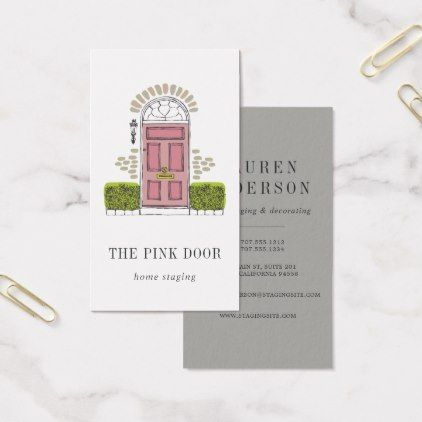 Pink Door Home Staging Or Interior Design Business Card Zazzle Com In 2020 Interior Designer Business Card Business Card Design Interior Design Business