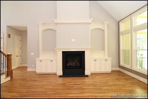 How Much Do Custom Built In Bookcases Cost Raleigh Custom Homes Fireplace Built Ins Cathedral Ceiling Living Room Vaulted Ceiling Living Room