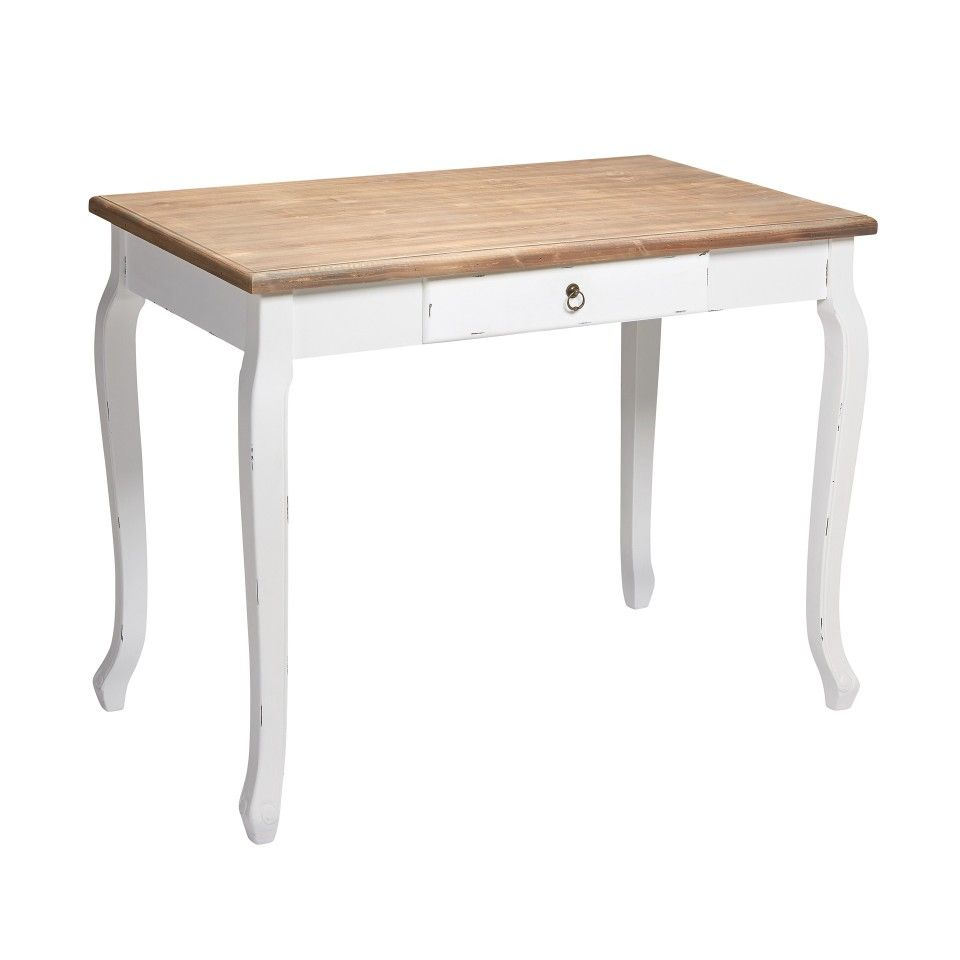 Schultisch antik  Schreibtisch Brest (50x100, antik-look lackiert/cremeweiß)