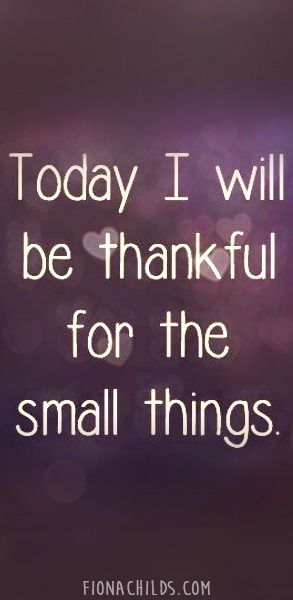 Today I Will Be Thankful For The Small Things Thankful Small