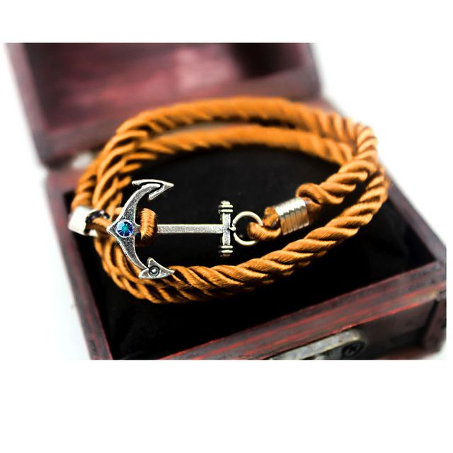 Fashion Jewelry Handmade Braid Rope Anchor Bracelet Navy Style Bule Crystal Vintage Silver Plating Anchor Bangle for Men Women - Antique Silver Plated