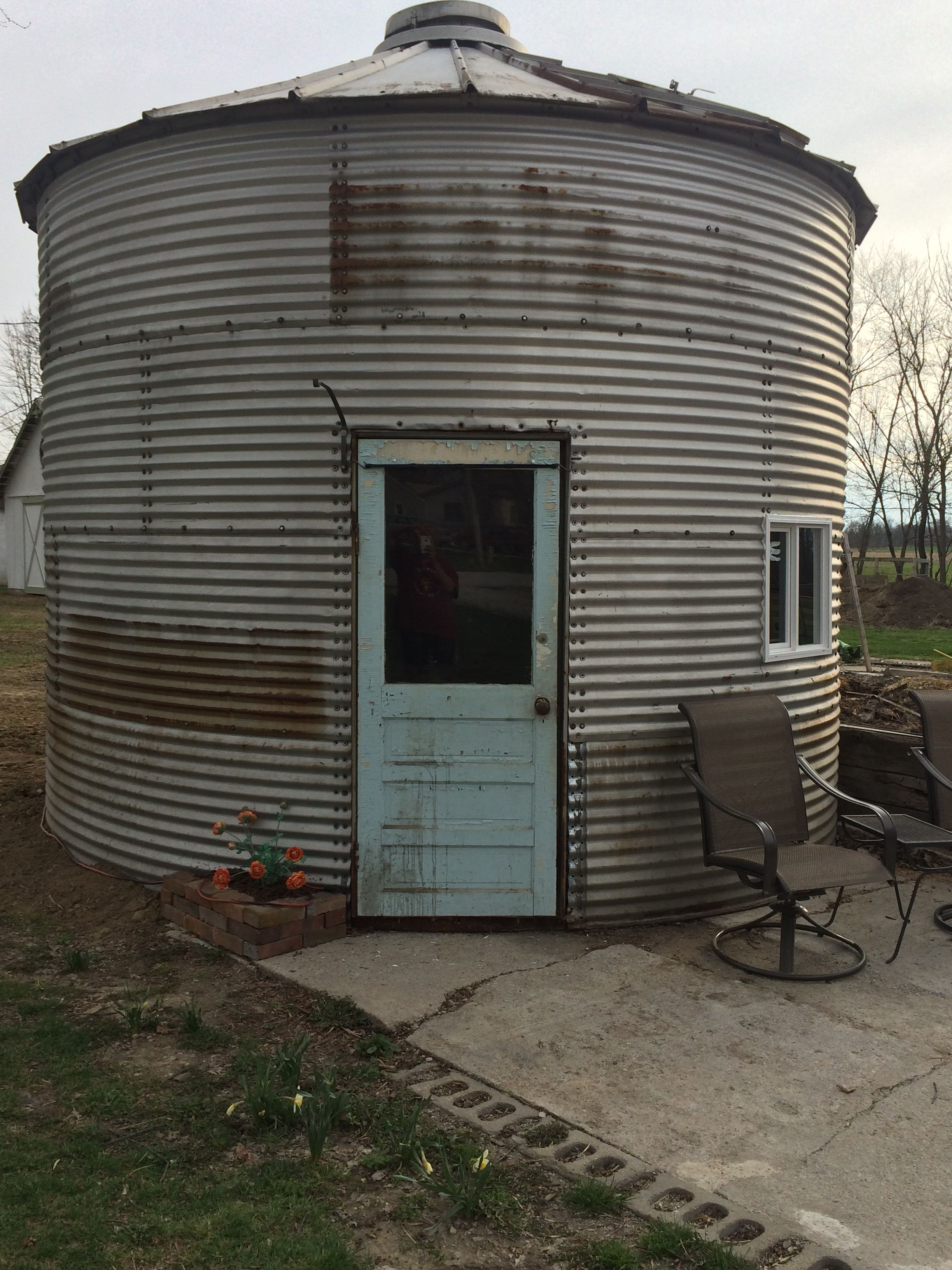We Just Got This Grain Bin Up And Door And Window