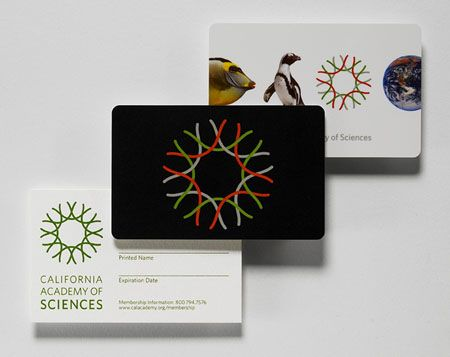 New Work California Academy of Sciences New at Pentagram - membership cards design