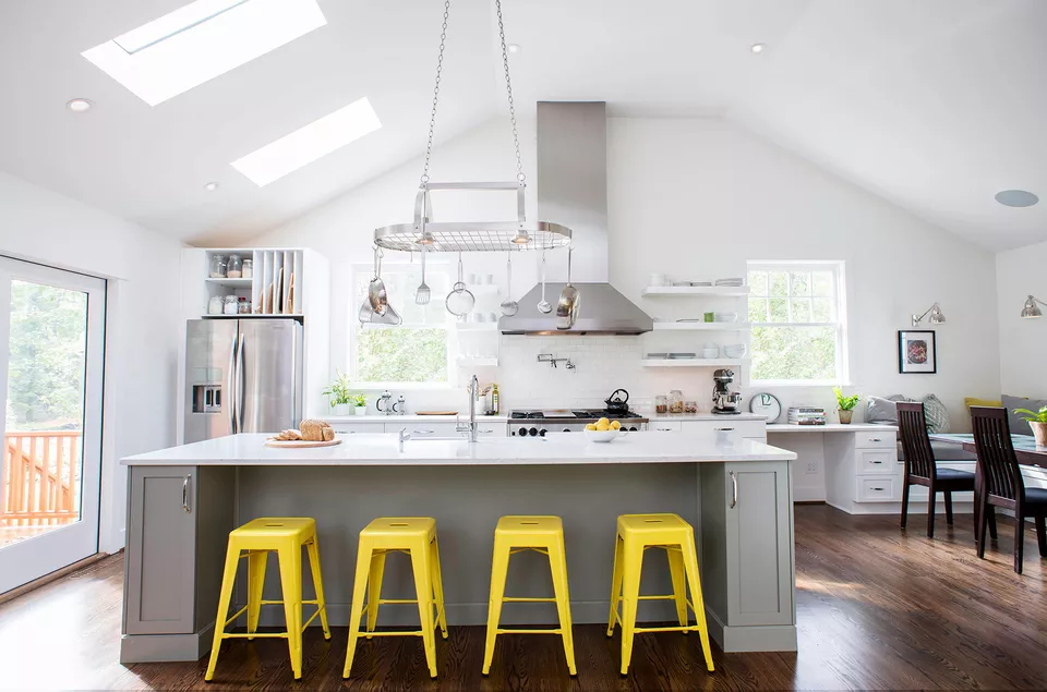 30 beautiful yellow kitchen ideas in 2020 white modern kitchen yellow kitchen yellow bar stools on kitchen ideas yellow and grey id=81575