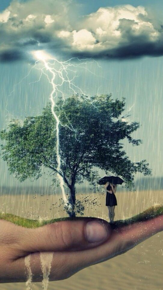 Image result for hand umbrella trees thunderstorm paintings