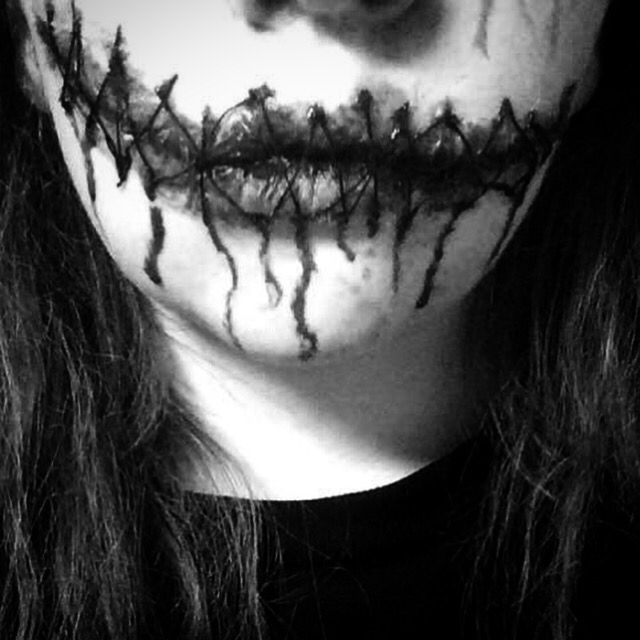 Close up of stitches in black and white, SFX SEWN UP MOUTH ...