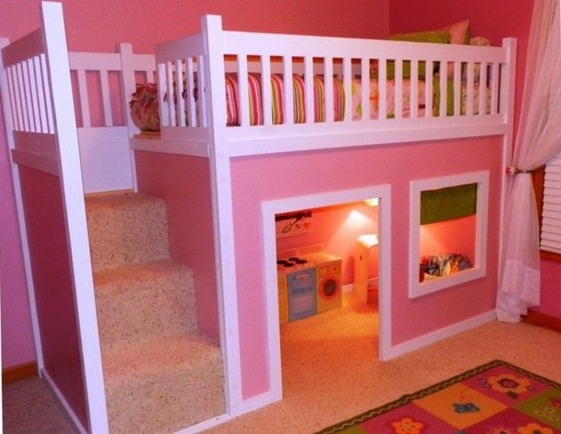Awesome Bunk Beds For Girls | Awesome Bunk Beds Design With Pink Colours  For Girls: Incredible Loft .