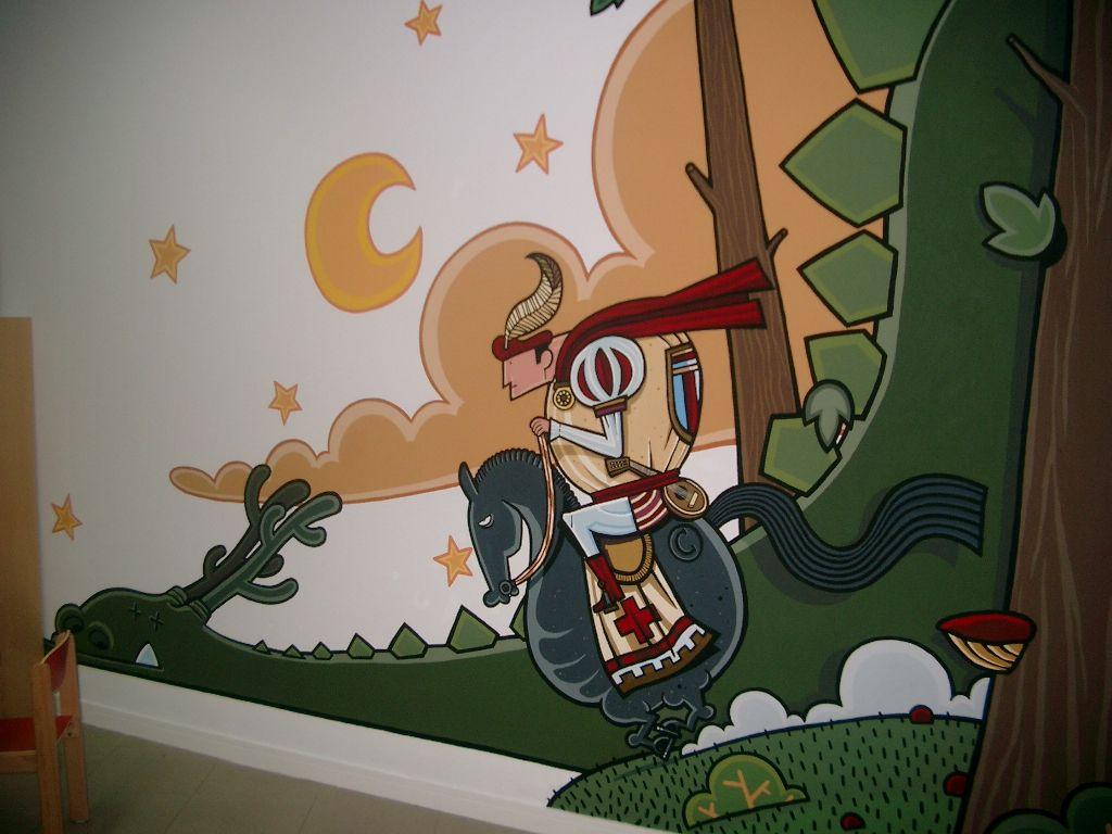Mural De Kiko Da Silva Na Sala Infantil Da Biblioteca Biblioteca  # Muebles Cuinas Ribadavia