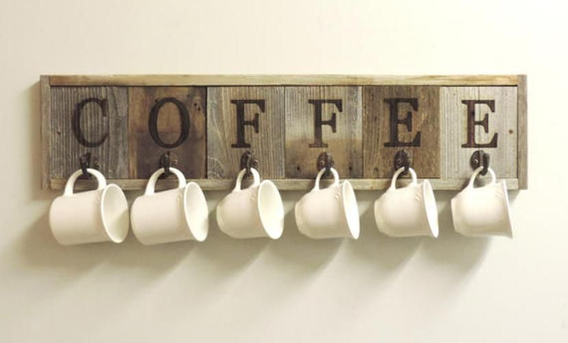 Barnwood Coffee Mug Rack Wall Mount Coffee Cup Holder 31 5 X 7 25 Coffee Cup Holder Handmade Home Decor Coffee Mug Holder