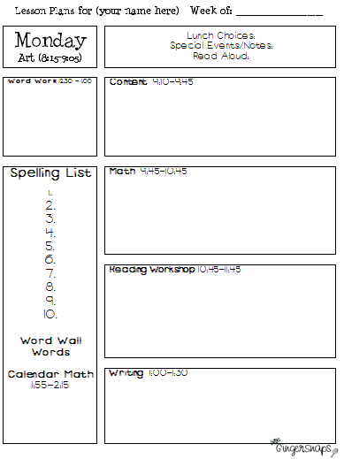 Lesson Plan Template Pages Passionativeco - Daily lesson plan template for kindergarten