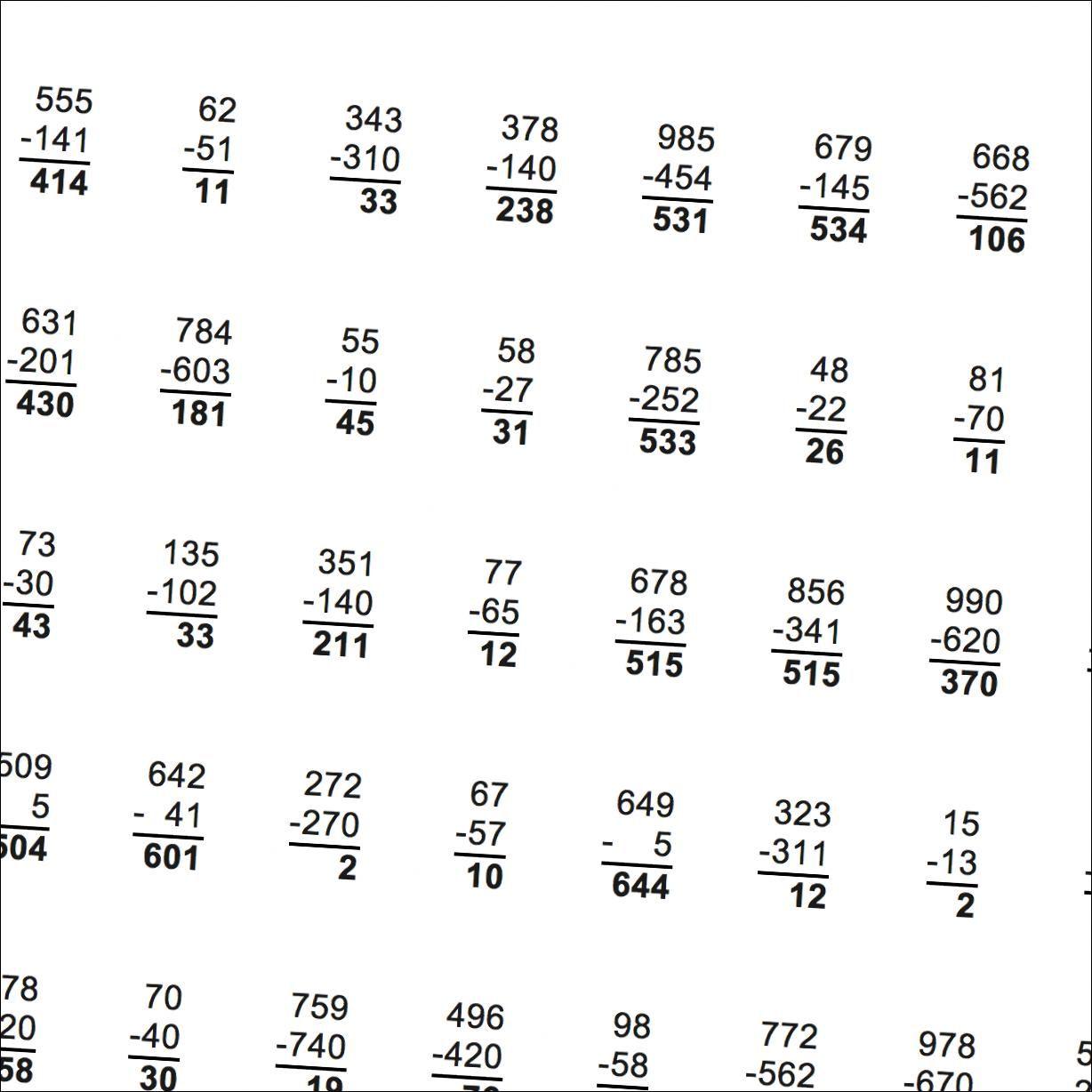 Multiple Digit Subtraction Worksheets No Regrouping