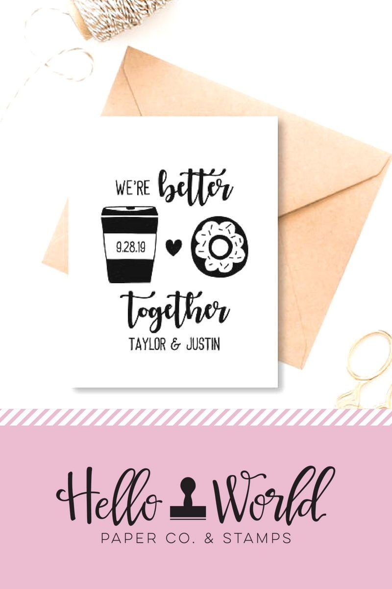 Save The Date Stamp Coffee And Donuts Wedding