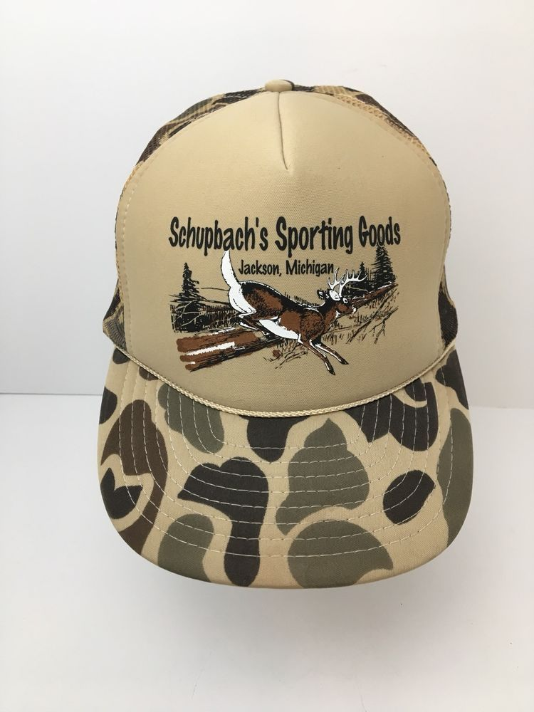 af6619a89 Vintage Camo Whitetail Deer Hat Schupbachs Sporting Goods SnapBack ...
