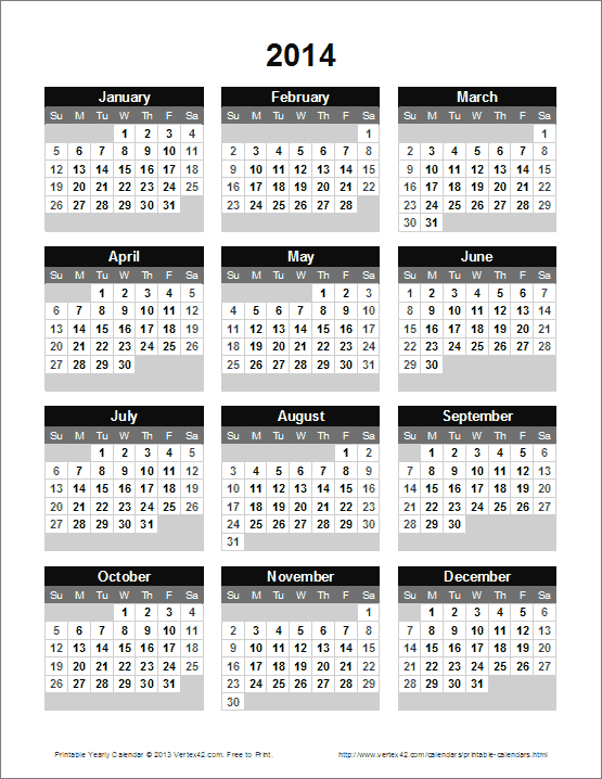 Printable Yearly Calendar  Calendar    Printable
