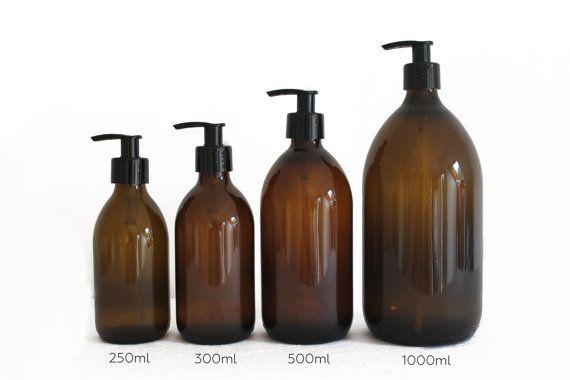 Amber Brown Glass Bottle Soap Dispenser Bottle Glazen Fles