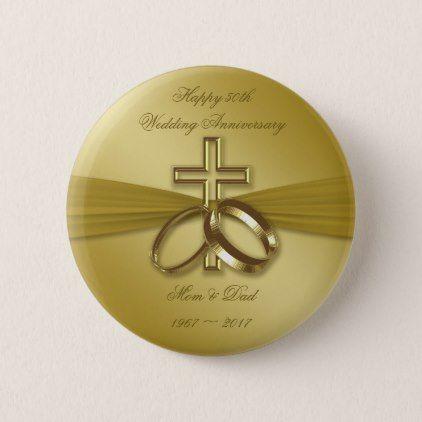 Religious Golden 50th Wedding Anniversary Button - accessories ...
