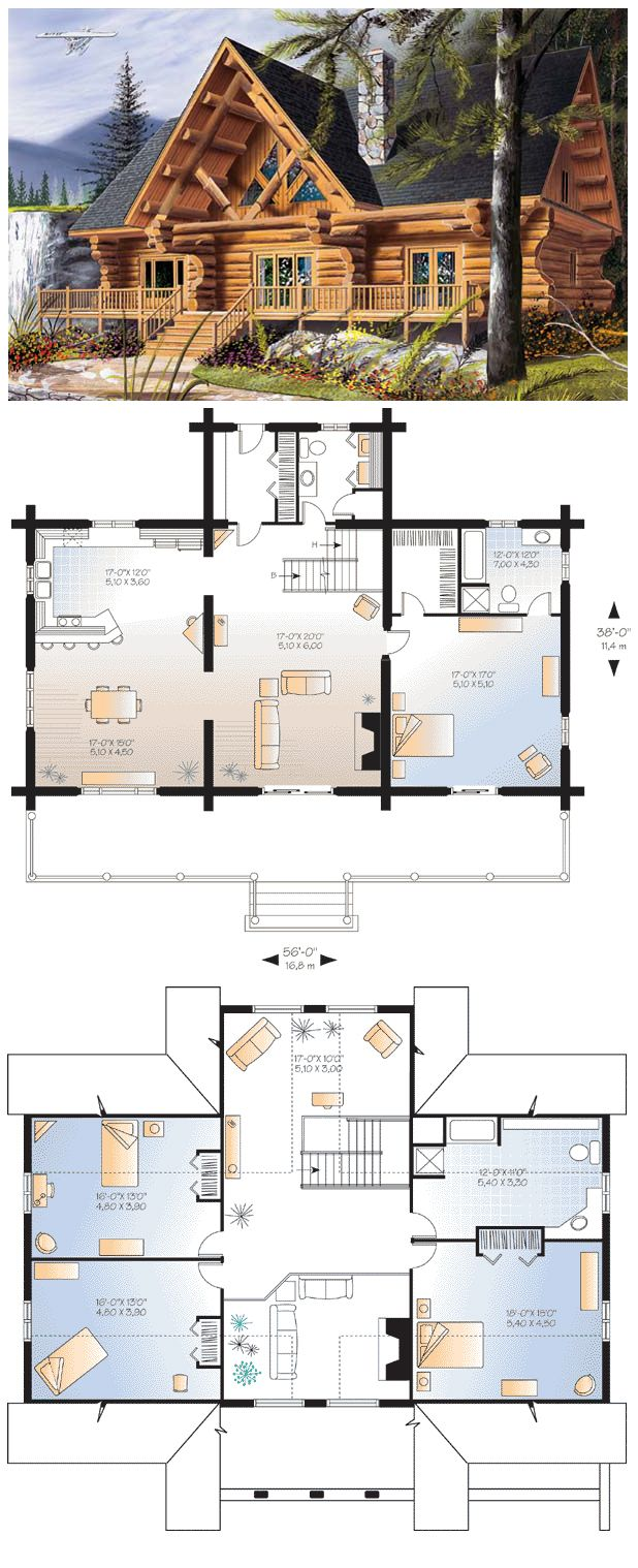 Log Style House Plan 64969 With 4 Bed 3 Bath Log Home Plans Cabin Floor Plans Log Homes