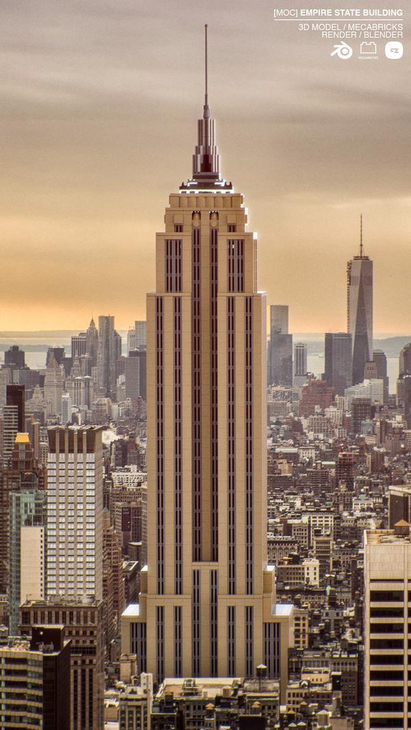 Moc Empire State Building Lego Blender Mecabricks 3d Render