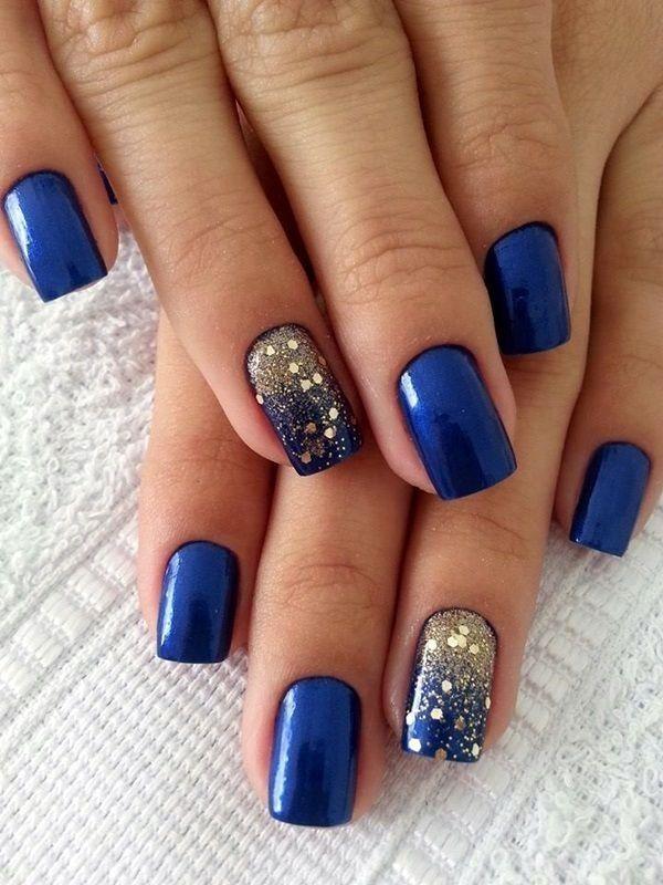 Royal Blue Glitter Speck Nails nails nail blue nails nail art ...