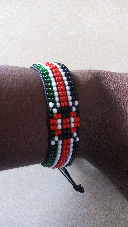 Beaded flag bracelet african bracelet kenyan bracelet