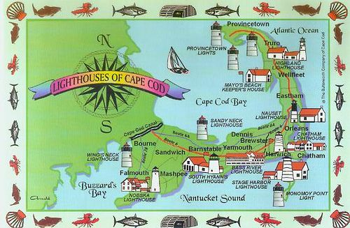 Map of Cape Cod Lighthouses in 2019 | Cape cod map, Cape cod ...