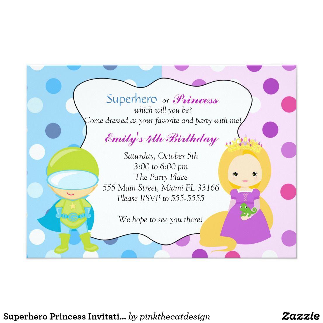Superhero Princess Invitation Kids Birthday Party | Princess ...