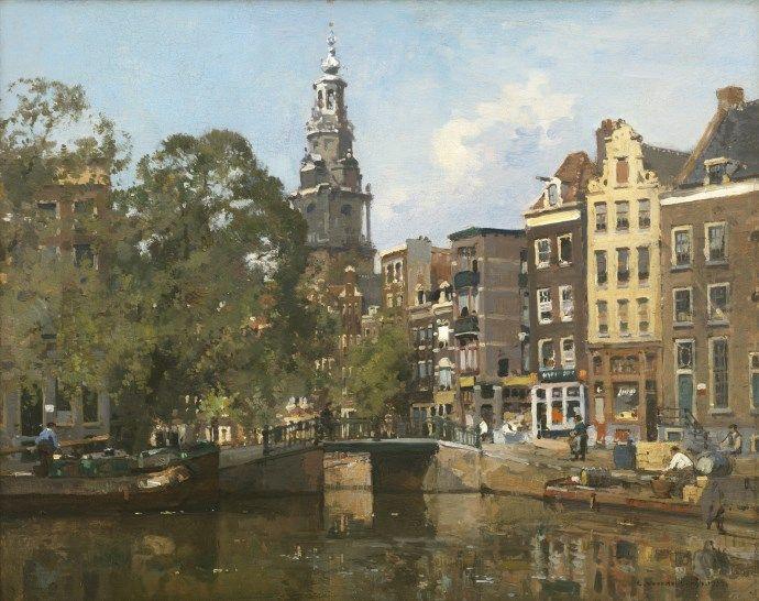 Cornelis Vreedenburgh (Woerden 1880-1946 Laren (N.H.)) A view of the Raamgracht and the Zuiderkerktoren in Amsterdam - Dutch Art Gallery Simonis and Buunk Ede, Netherlands.