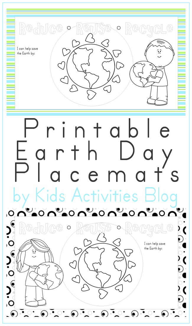 Free Printable Earth Day Place Mats Eco Friendly Fun Living And
