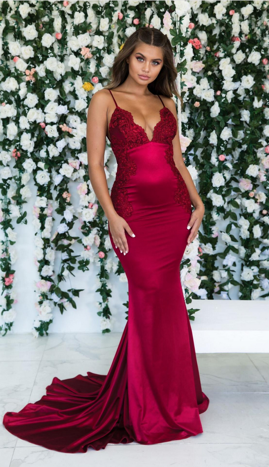 Gorgeous Burgundy Prom Dresses Spaghetti Straps Backless Evening Dresses Formal