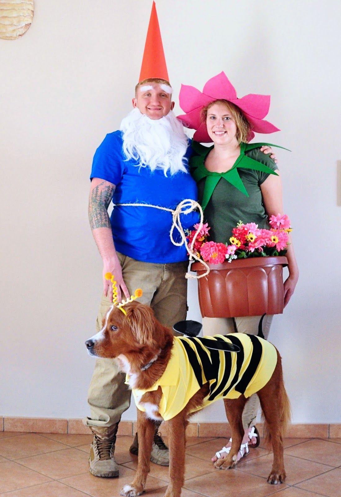 garden gnome, flower, bee family costume. halloween diy costume. dog