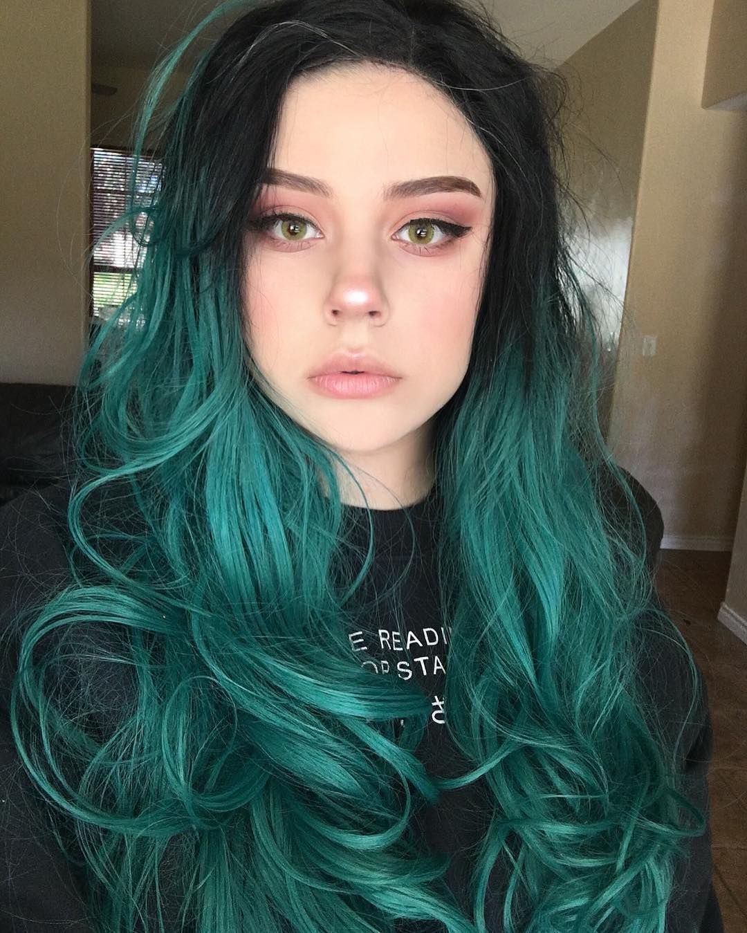 FPC Black Ombre Green Long Synthetic Lace Front Wigs