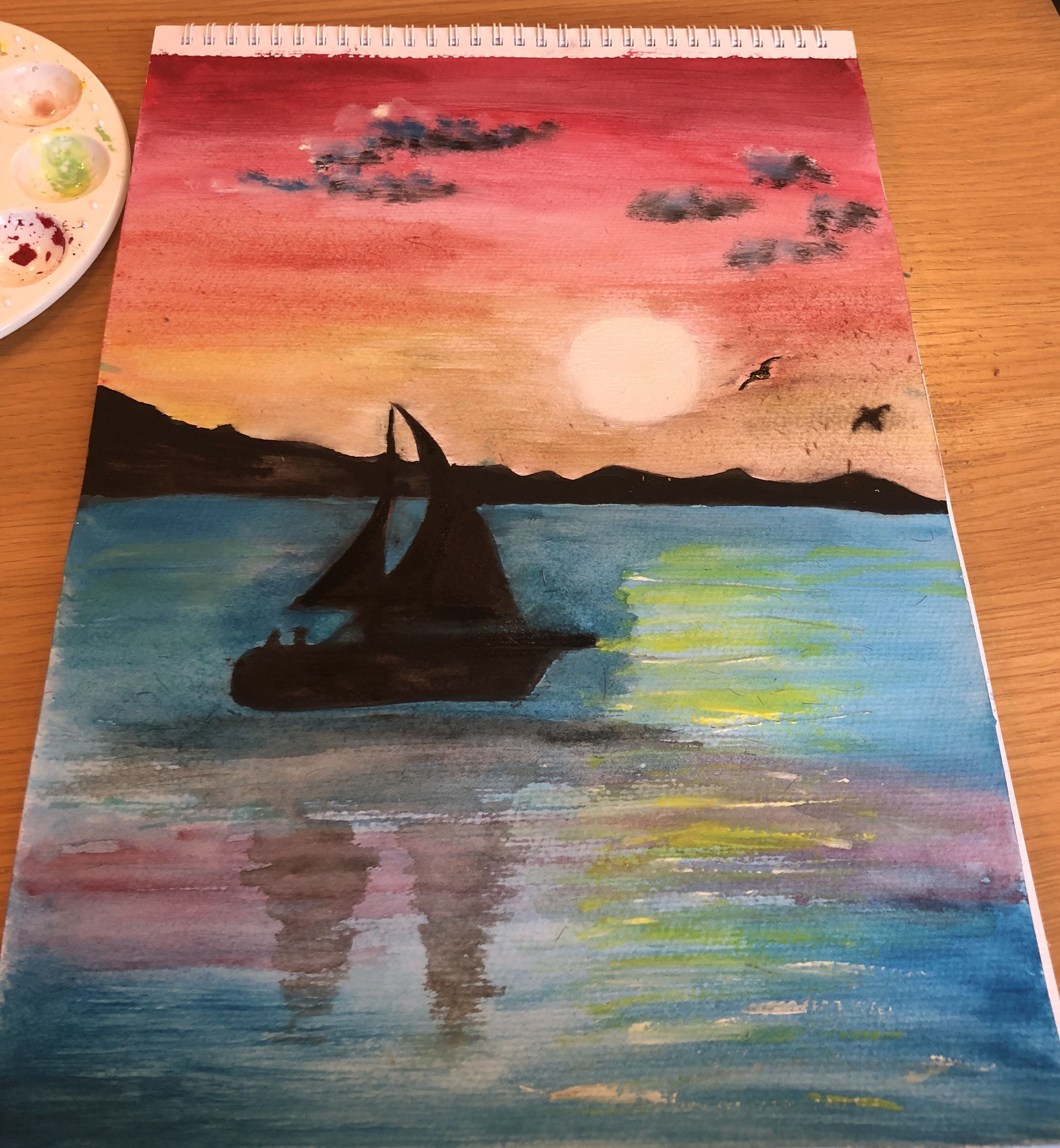 Sunset Sky Paint Watercolour Boat Painting Mountains Sea