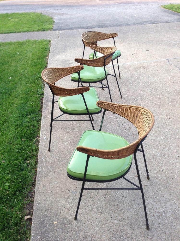 Mid Century Modern Salterini Style Tiki Lounge Chairs Patio Umanoff Era
