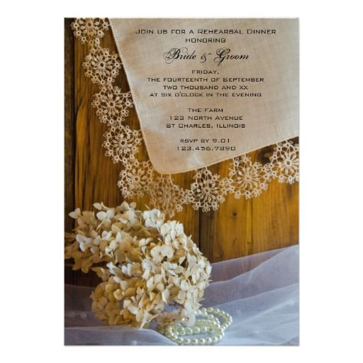 Country Lace Wedding Rehearsal Dinner Invitation