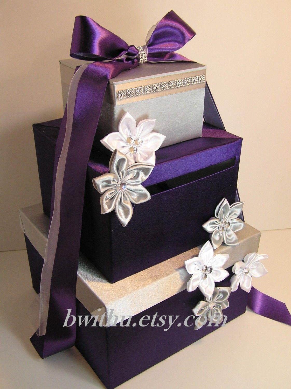 Wedding Card Box Purple And Orange Gift Card Box Money Box Holder