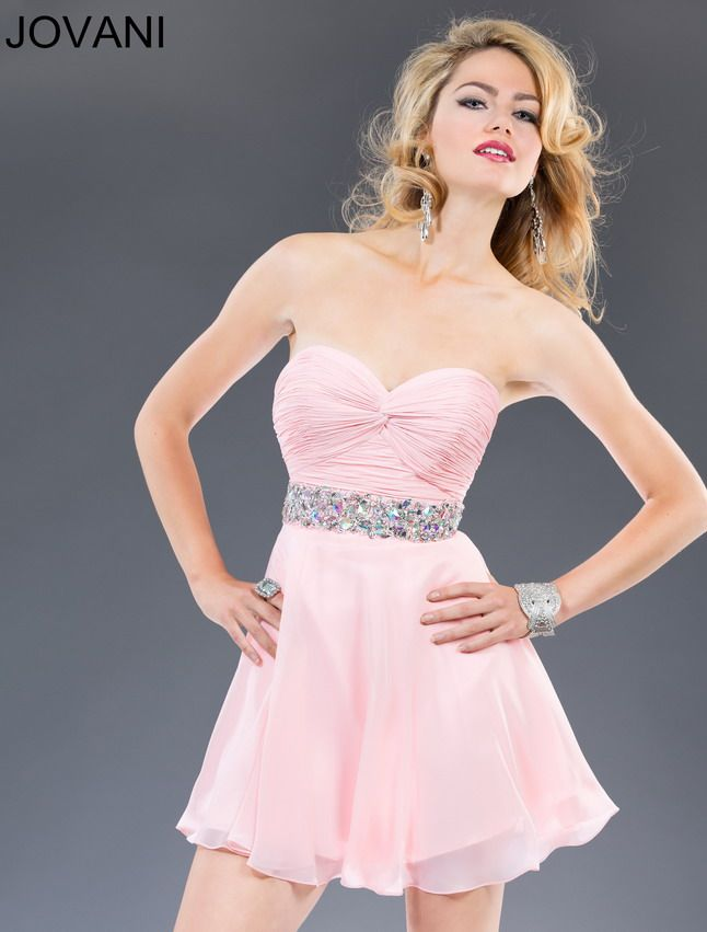 Ruched Top Beaded Waist Pink Short Strapless Evening Dress Sale ...