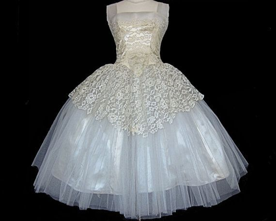 Vintage 1950\'s Fairy Princess Wedding Dress by FirstLoveLastLove ...
