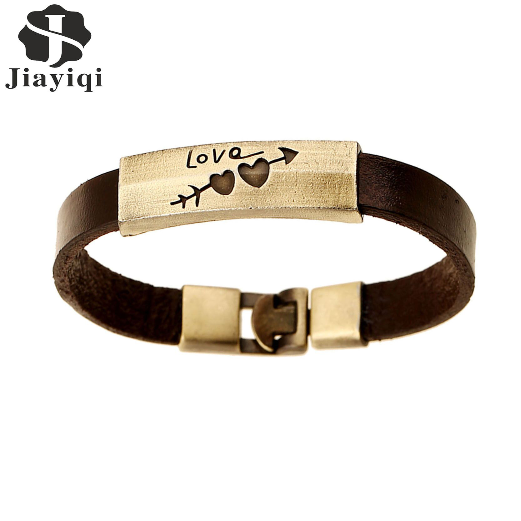 Jiayiqi new vintage brown heart cowhide leather cuff bracelets