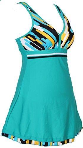 f21cbd0b0b Hengjia V neck Beachwear Swimsuit One piece Vertical Stripes Swimwear Solid  Swimdress. Check website for more description.