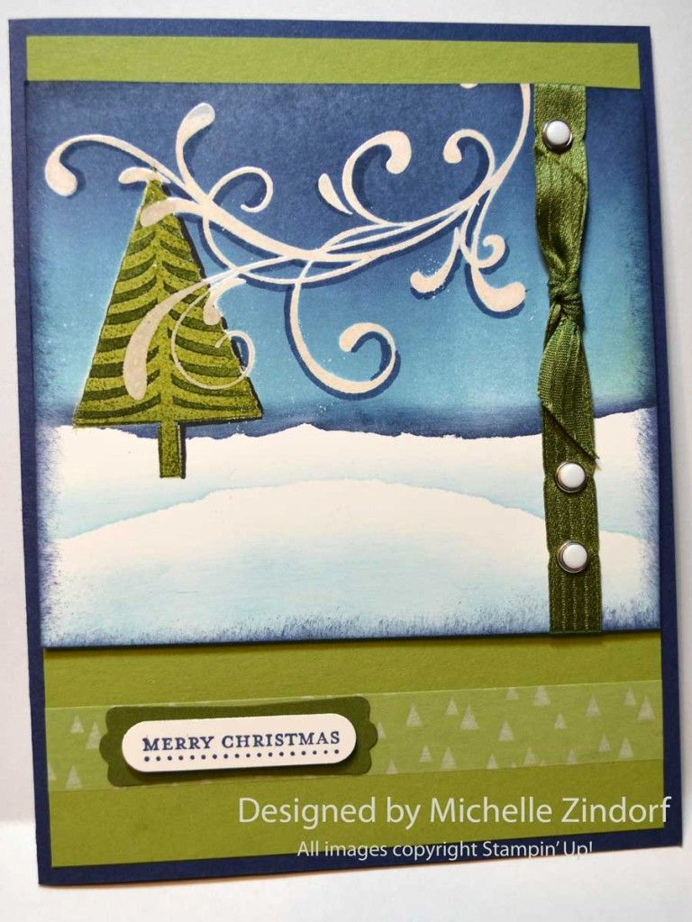 Windy Pines Christmas Stampin' Up! Card created by Michelle Zindorf with the Festival of Trees Stamp Set