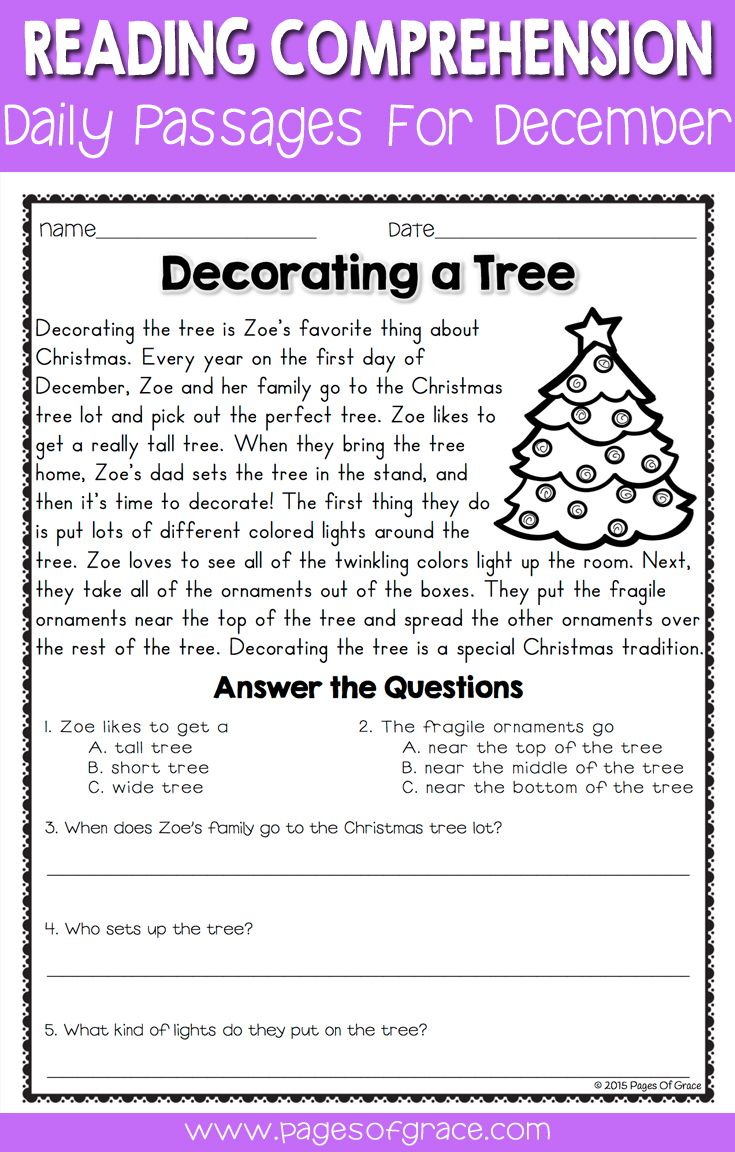 Reading Comprehension Passages and Questions for December   Reading  comprehension worksheets [ 1152 x 735 Pixel ]