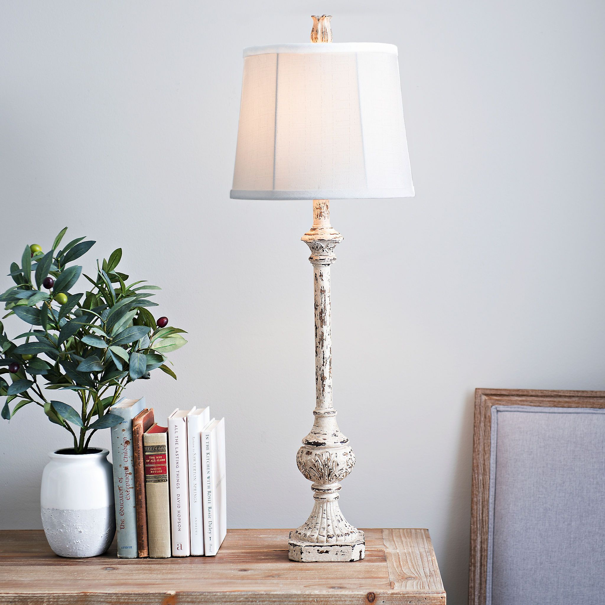 Nora Distressed Cream Buffet Lamp