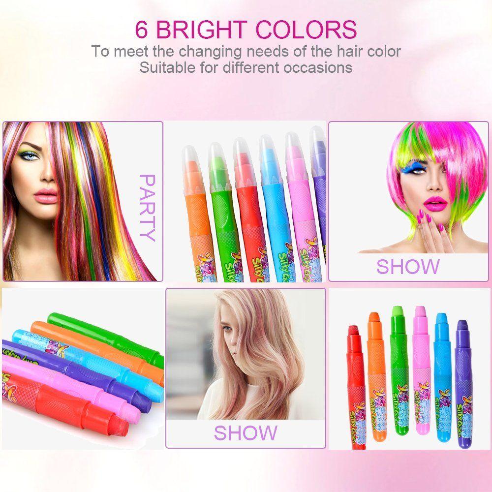 Elera Hair Color Chalk Set Washable Temporary Hair Dye Chalk Rainbow