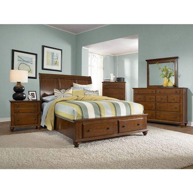 Hayden Place Light Brown Cherry Bedroom King Sleigh Bed with Storage Footboard  sc 1 st  Pinterest & Hayden Place Light Brown Cherry Bedroom King Sleigh Bed with Storage ...
