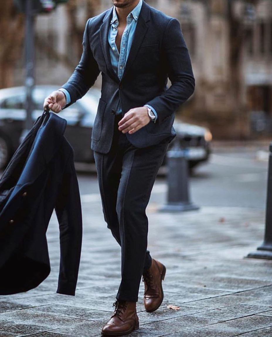 Add a denim shirt under your blazer for a more casual