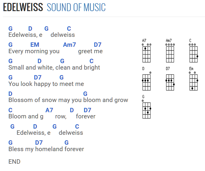 Edelweiss Sound Of Music With Standard Ukulele Chords Hawaiian