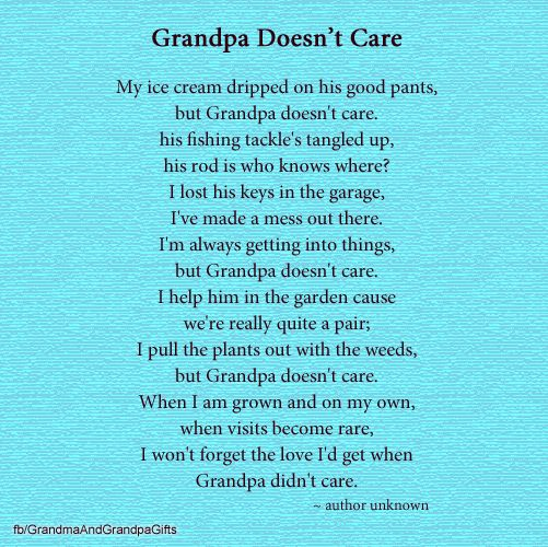 #Grandpa Doesn't Care #poem #grandfathers